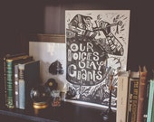 Our Voices Slay Giants - Block print poster for the Womens March - Charity donation