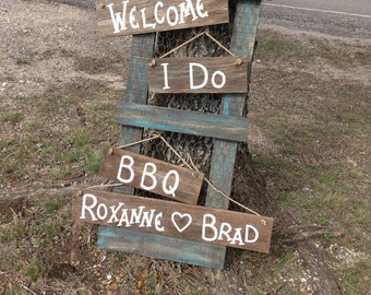 Rustic Wedding Shower Rehearsal Dinner I Do BBQ Wood Hanging Sign Set Personalized Name Photo Prop