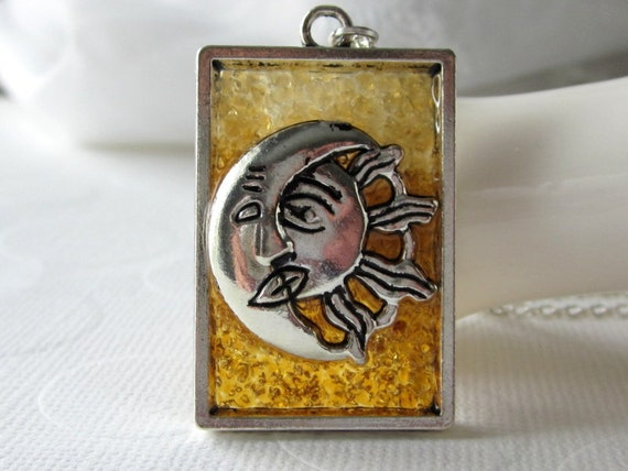 Golden Ombre Necklace Sun and Moon Necklace Pressed Glass Jewelry Gold Stained Glass Necklace Silver Sol y Luna Festival Burning Man