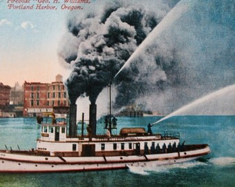 Fireboat Geo H Williams, Portland Harbor, Oregon Postcard