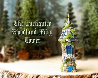 The Woodland Fairy Garden Tower - Miniature Enchanted Stone Tower with Blooming Flower Box, Tile Roof, Round Fairy Door and Golden Finial