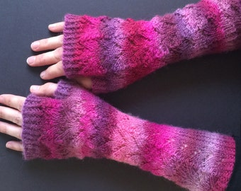 Fingerless Gloves - Arm Gloves - Women's Gloves - Hand-Knit Gloves - Arm-Length Gloves - Pink & Purple Gloves - Lace Pattern Glove - Striped