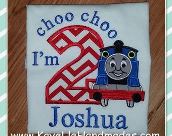 Embroidered Shirt - Birthday Shirt - Custom - Choo Choo Train