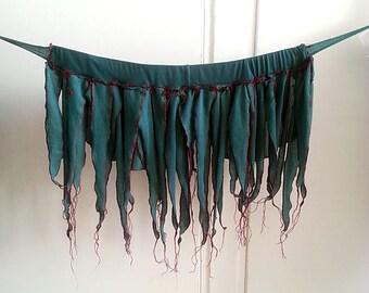 Pixie Fairy Skirt, Woodland Fairy tattered skirt, Fringe Belt skirt shabby chic fairy tribal  costume, Bohemian festival clothing