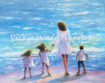 Mother and Two Daughters and Son Beach Art Print, mom, three children beach, two sisters, beach family, beach mother, Vickie Wade Art