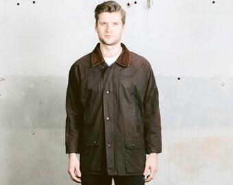 Mens WAXED Hunting Jacket . Vintage Brown Coat Outdoor Wear Coat Wax Oilskin Canvas Plaid Lining . size Small Medium
