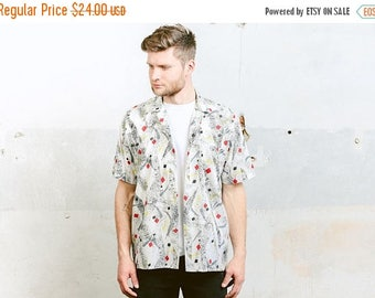 WEEKEND SALE . Pattern Shirt . Atomic Print Shirt Man Summer Shirt Vintage 80s Abstract Print Shirt Button Down Cotton Beach Shirt . size Me