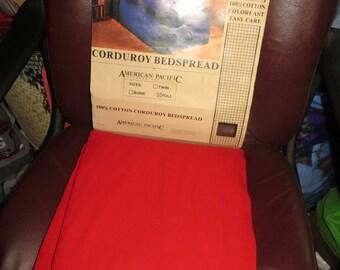 retro vintage red cotton corduroy 80s  full size bedspread    new  vintage