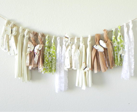 Textured Butterfly Tassel Garland
