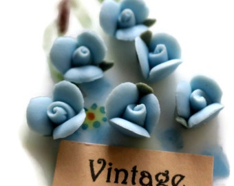 Vintage Flower Cabochons Porcelain Lot Roses Rose Buds Flowers Floral Blue roses Handmade Tiny 7mm. #1484K