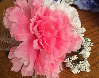 Corsage Pink Bridesmade's Mother-of-the-Bride's Corsage White Carnation Silk Handmade Formal Prom Wedding Ceremony Picture