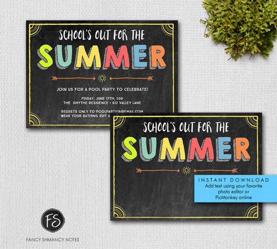 Summer party invitation printable schools out chalkboard il570xn stopboris Gallery