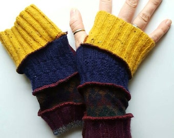 Yellow Red Blue Armwarmers Fingerless Gloves Mitts Men Women