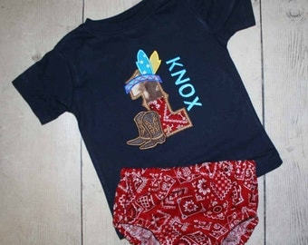 Exclusive design--Cowboys and Indians Birthday Shirt and Diaper cover- Boys or Girls Colors Avail- Free Personalization