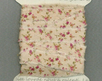 8  yards, Pink floral cream, cottage chic ribbon, .75 wide fabric ribbon, rustic prairie hand frayed ,gift wrap trim card making 1361 37