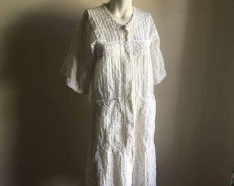 70s Handmade Cotton Dress Coat • Mexican Crocheted Cotton Dress