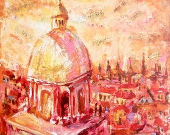 To Prague w Love - Impressionist Dome Landscape Painting, Original Acrylic Collage Art, Abstract Landscape, Czech, European, Music, Romance
