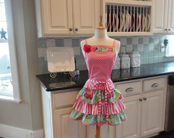 Spring Fling ~  Mother's Day ~ READY TO SHIP ~ Sophia Ruffled Womens Apron ~ 4RetroSisters