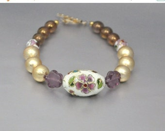 Vintage Bead Bracelet Purple Cloisonne Gold Pearl and Amethyst