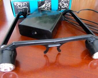 REDUCED! Vintage Occhiali Luminosi Light-Up Torch Glasses Illuminating Illumination Frames Italian Hands-Free Original Box Eyewear Black