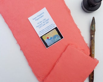 NEW Ten sheets of 3 x 5 inch coral abaca kozo paper