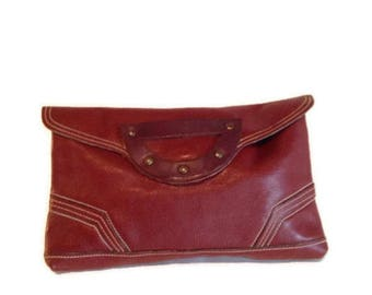 Vintage leather clutch, 1970's  Bag, Chunky layered Leather purse