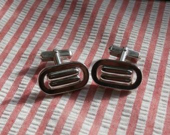 Oval Swank Cuff Links, Vintage Silver Toned Metal Cufflinks