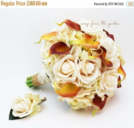 Winter sale autumn wedding real touch calla by for Fall wedding bouquets for sale