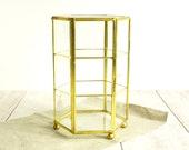 Vintage Glass Display Box, Glass and Brass Box, Trinket Box, Display Case