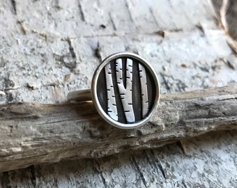Made to order Sterling Silver Birch tree ring! (Sizing options available)