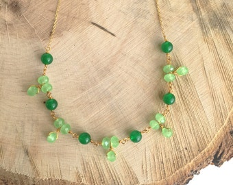 Emerald Green Gold Filled Necklace