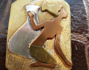 One of a kind pendant/ brooch by artist Sonja in sterling silver brass and copper.
