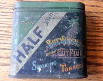 small size half and half Buckingham cut plug smoking tobacco tin vintage