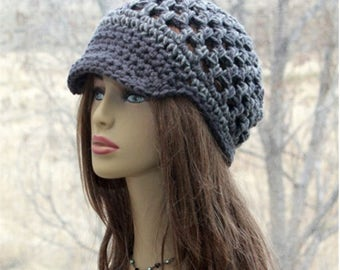 Crochet  newsboy hat, womens mesh cap, summer teens beanie, brim lace hat, womens accessories in grey tweed