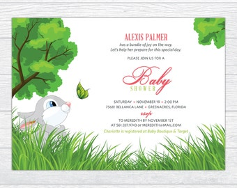 Baby Bunny in a Garden Baby Shower Invitation, Personalized Baby Girl or Boy Baby Shower Invitation Printable Storybrooke Baby Shower Invite