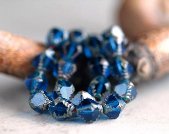 Bermuda Blue Picasso Czech Glass Beads, Fire Polished Faceted Bicones, Textured Bicone Beads, 10x8mm (12pcs)