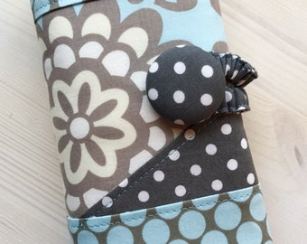 Spill Proof Light Slate Blue / Aqua and Gray Wildflower & Dots Cosmetic / Crochet Hook / Project Case Organizer