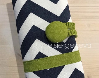 Navy Blue Chevron Mustard Yellow Hot Pink Green Zig Zag Crochet Hook Case Organzier Sewn in Zipper Pocket Button Closure Lime Orange Coral