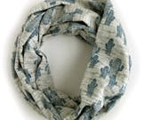 Blue Cactus Loop Scarf - Blue and Gray Modern Infinity Scarves - Winter Layering Scarf - Cotton Jersey Knit