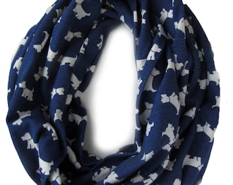 Blue and White Childs Infinity Scarf - Loop scarf - Kids Cotton Scarves - Scotty Dog Stretch Scarf