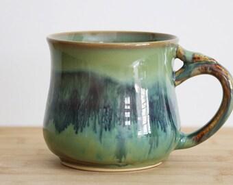 Jade nebula mug with snake bite thumb rest