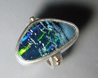 Australian Boulder Opal Ring Northern Lights Ring Sterling Silver 14k Gold