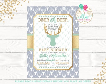 Deer Oh Deer Baby Shower Invite, Deer Baby Shower Invitation, Baby Boy, Mint Gray Gold, Antlers, Little Buck, Printable Invite, DIY