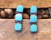 Vintage Native American Turquoise and Sterling Silver Earrings Articulated Clip Ons