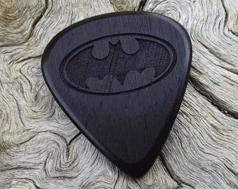 Wood Guitar Pick - Premium Quality - Handmade From African Blackwood - Laser Engraved On Each Side - Artisan Guitar Pick - Batman Pick