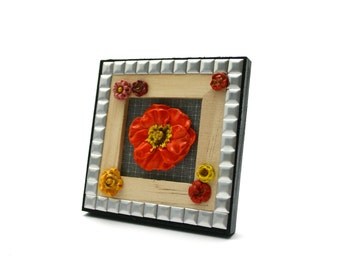 Mini wooden frame floral mixed media art colorful 3D Art Deco flowers