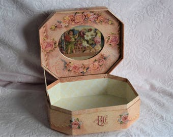 Vintage COTY TRULY LACE Victorian Ephemera Paper Cover Jewelry Mirror Gift Box Flower Floral Ribbon Bow Lace Perfume Cologne Container Empty