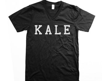 Vneck - unisex kale shirt, black vneck, kale tshirt, mens vneck, organic cotton, kale print - small, medium, large, xl, 2xl