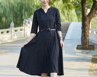 Classic style Black linen long sleeve sundress(more colour and size choice)