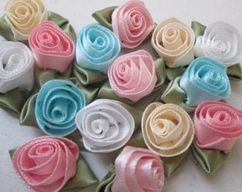 Rosettes, Fabric Rosettes, DIY Wedding Roses, Small Satin Roses, Mini Ribbon Roses, Millinery Roses for Scrapbook, Jewelry, Headband Supply
